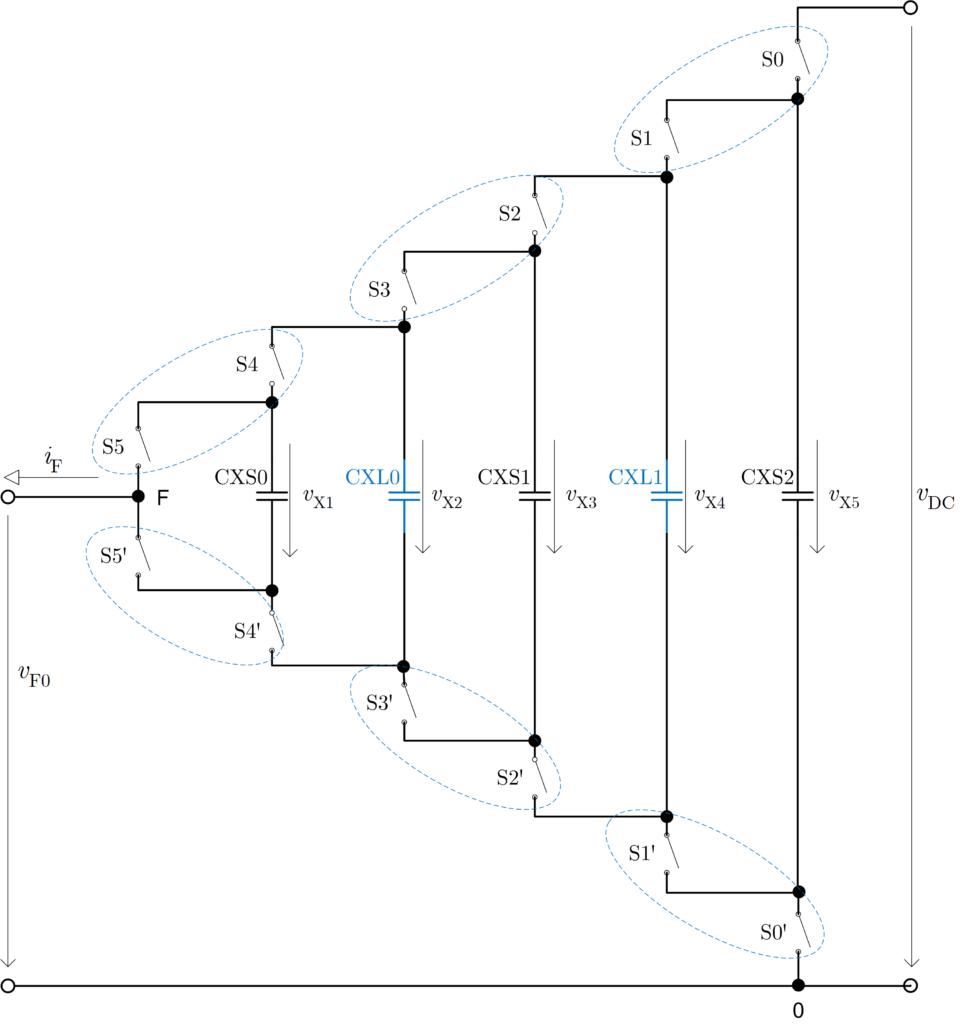 Topologie jedné fáze sedmihladinového měniče